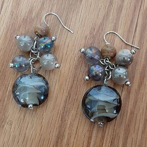 5/50% gorgeous cluster dangling earrings